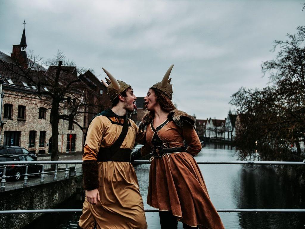 2 people wearing viking custom
